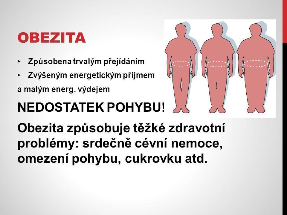 OBEZITA Způsobena trvalým přejídáním Zvýšeným energetickým příjmem a malým energ. výdejem NEDOSTATEK POHYBU!!! Obezita způsobuje těžké zdravotní probl