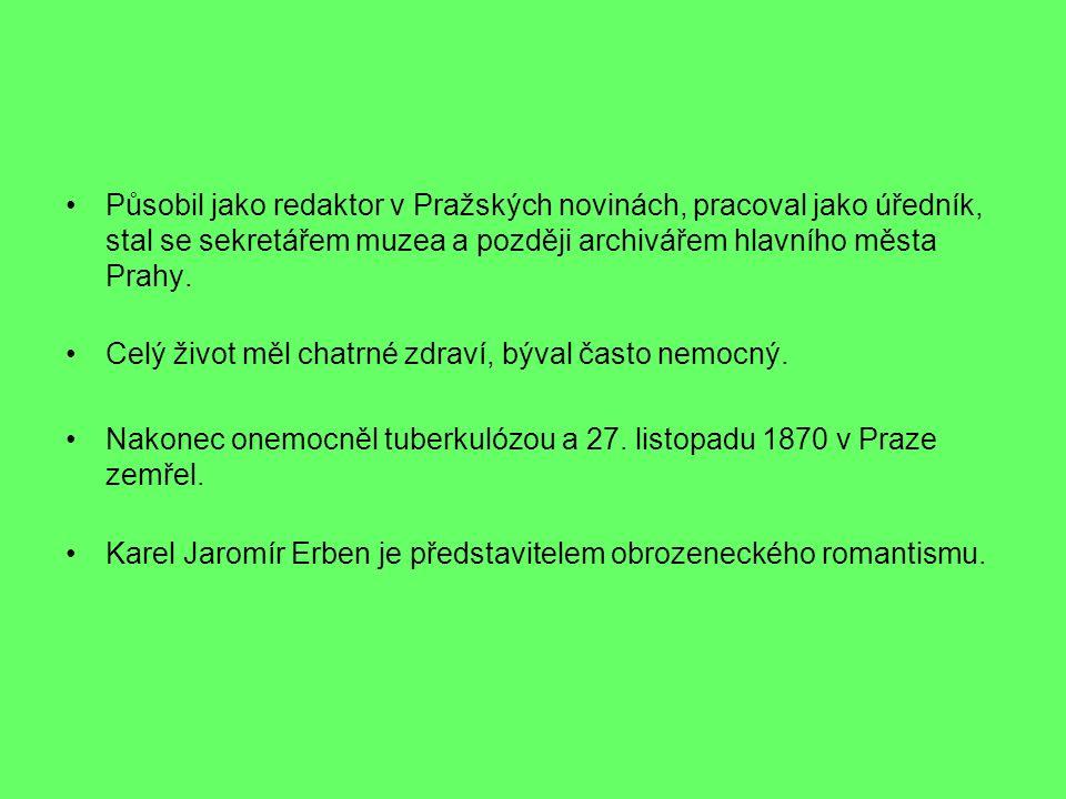 Působil jako redaktor v Pražských novinách, pracoval jako úředník, stal se sekretářem muzea a později archivářem hlavního města Prahy. Celý život měl