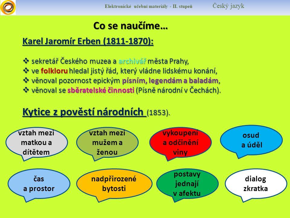 Co se naučíme… Co se naučíme… Elektronické učební materiály - II. stupeň Český jazyk Karel Jaromír Erben (1811-1870):  sekretář Českého muzea a archi