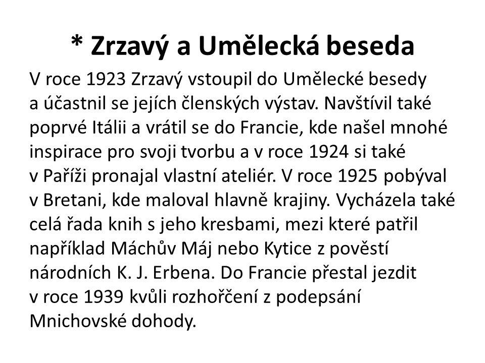 * Zrzavý a Umělecká beseda V roce 1923 Zrzavý vstoupil do Umělecké besedy a účastnil se jejích členských výstav. Navštívil také poprvé Itálii a vrátil