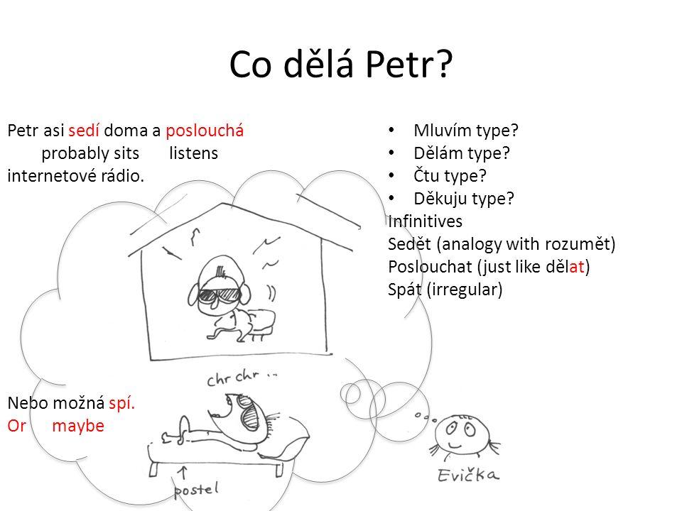Co dělá Petr. Petr asi sedí doma a poslouchá probably sits listens internetové rádio.