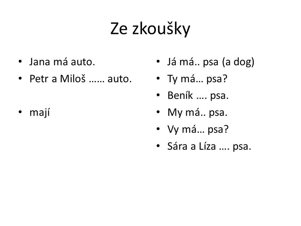 Ze zkoušky Jana má auto. Petr a Miloš …… auto. mají Já má.. psa (a dog) Ty má… psa? Beník …. psa. My má.. psa. Vy má… psa? Sára a Líza …. psa.