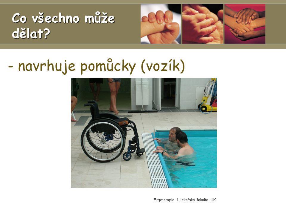 - navrhuje pomůcky (vozík) Ergoterapie 1.Lékařská fakulta UK Co všechno může dělat?