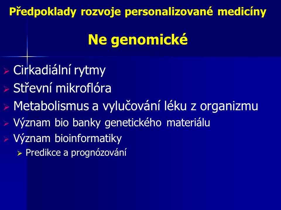 Předpoklady rozvoje personalizované medicíny Ne genomické  Cirkadiální rytmy  Střevní mikroflóra  Metabolismus a vylučování léku z organizmu  Význam bio banky genetického materiálu  Význam bioinformatiky  Predikce a prognózování