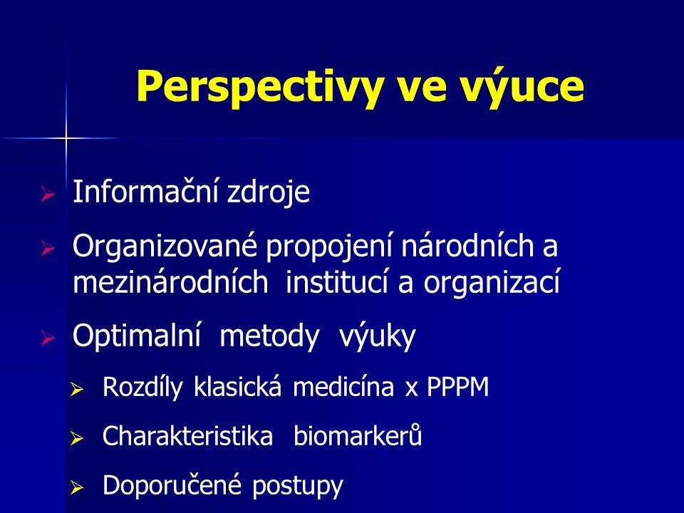 Perspectivy ve výuce  Informační zdroje  Organizované propojení národních a mezinárodních institucí a organizací  Optimalní metody výuky  Rozdíly klasická medicína x PPPM  Charakteristika biomarkerů  Doporučené postupy