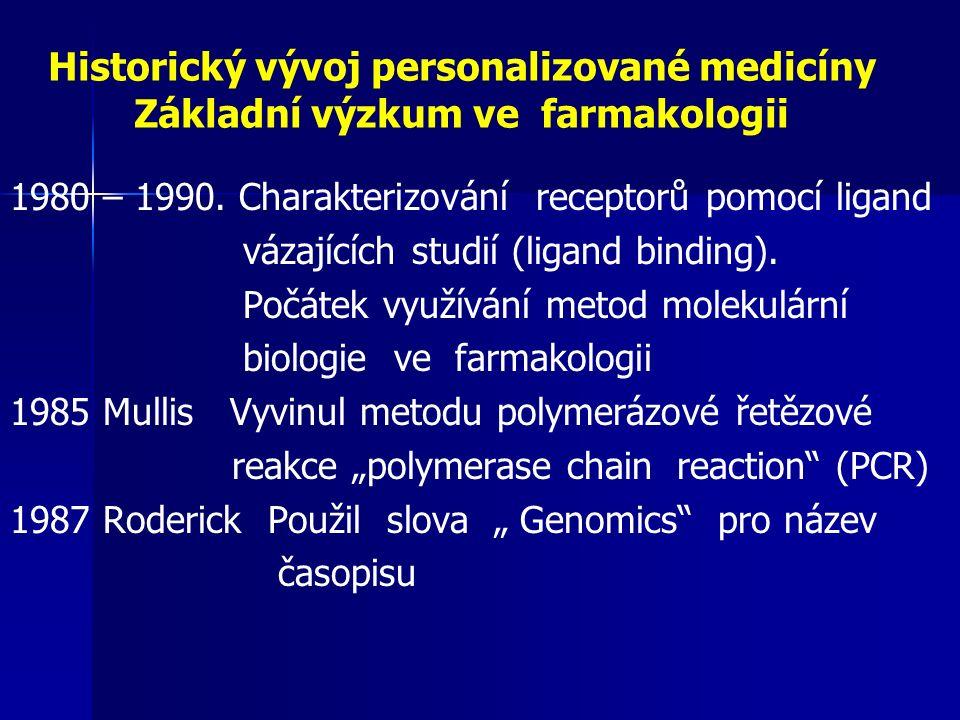 Historický vývoj personalizované medicíny Desetiletí genomiky 1990 – 2000 Sekvenování lidského genomu.