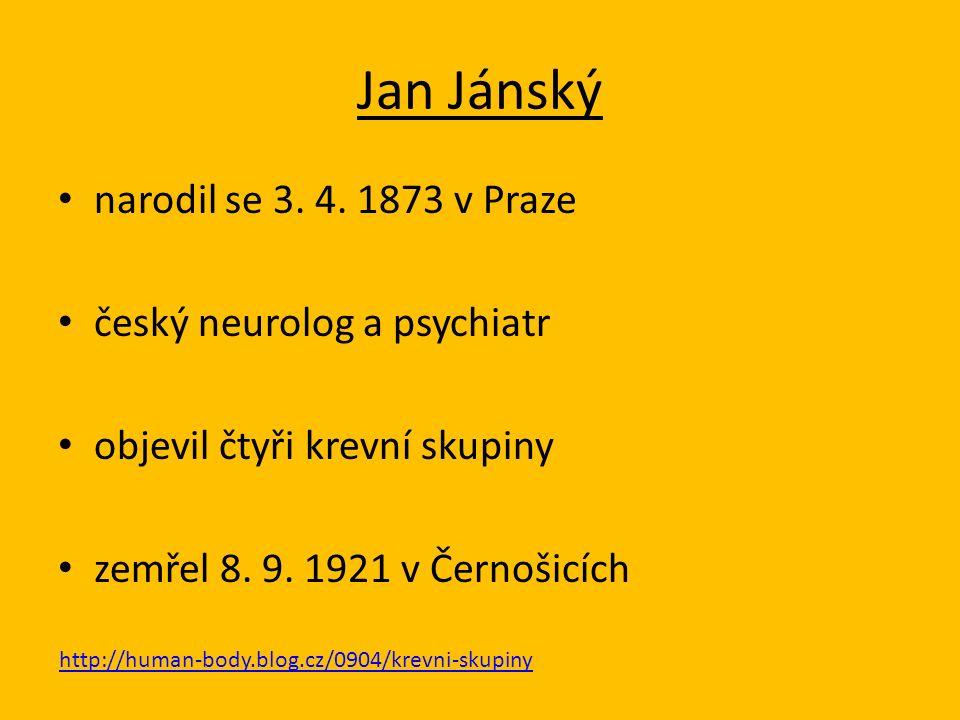 Jan Jánský narodil se 3. 4.