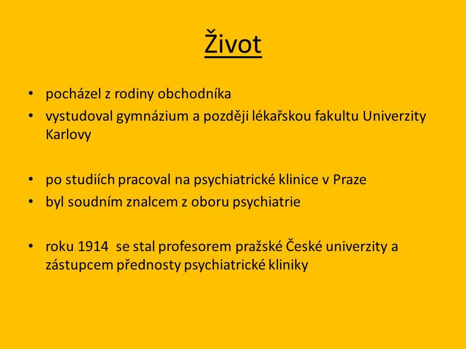 Život pocházel z rodiny obchodníka vystudoval gymnázium a později lékařskou fakultu Univerzity Karlovy po studiích pracoval na psychiatrické klinice v Praze byl soudním znalcem z oboru psychiatrie roku 1914 se stal profesorem pražské České univerzity a zástupcem přednosty psychiatrické kliniky