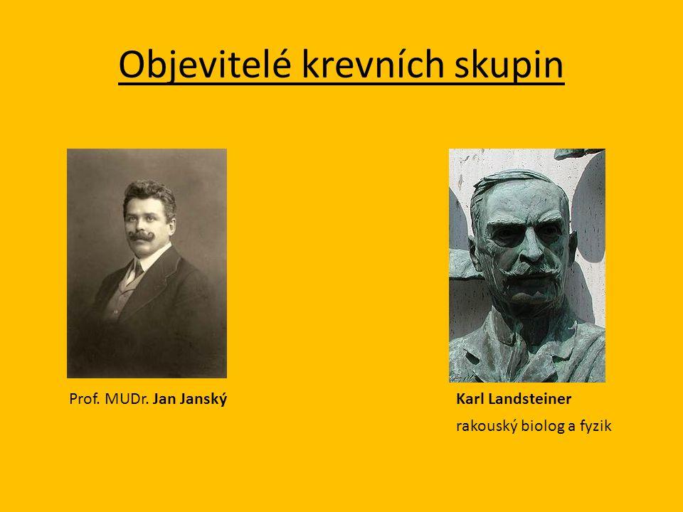 Objevitelé krevních skupin Prof. MUDr. Jan JanskýKarl Landsteiner rakouský biolog a fyzik