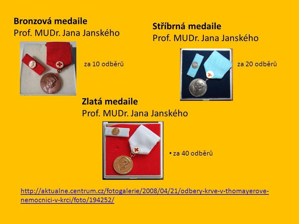 Stříbrná medaile Prof. MUDr. Jana Janského za 40 odběrů Zlatá medaile Prof.