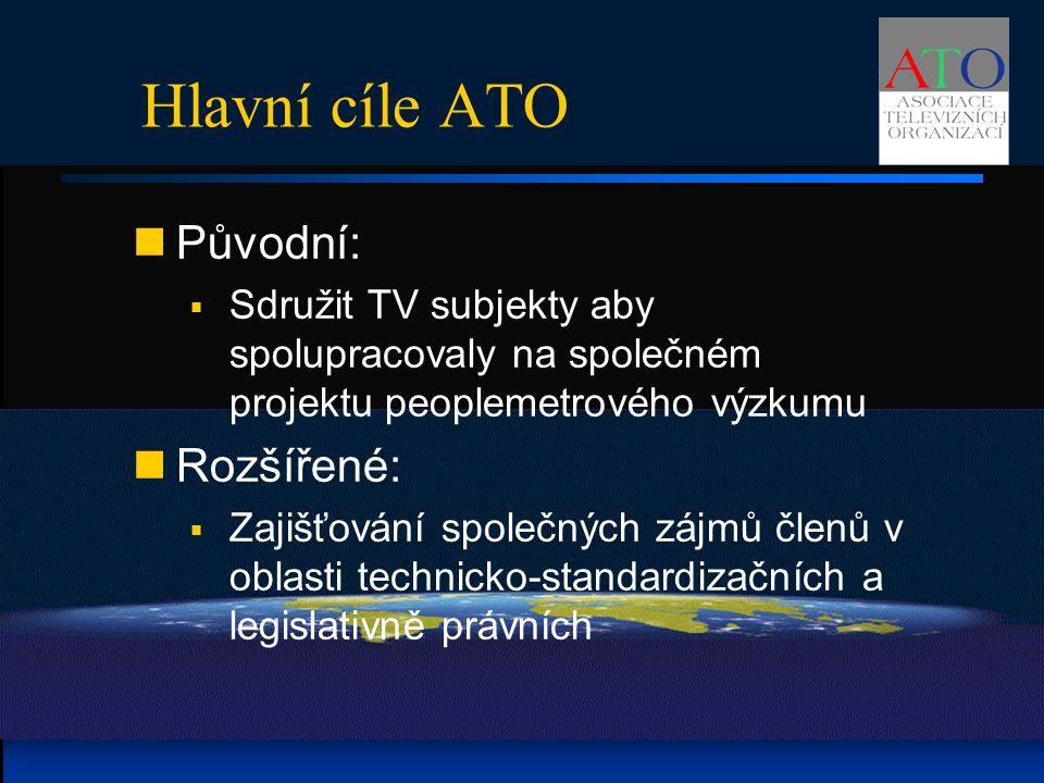Hlavní cíle ATO Původní:  Sdružit TV subjekty aby spolupracovaly na společném projektu peoplemetrového výzkumu Rozšířené:  Zajišťování společných zájmů členů v oblasti technicko-standardizačních a legislativně právních