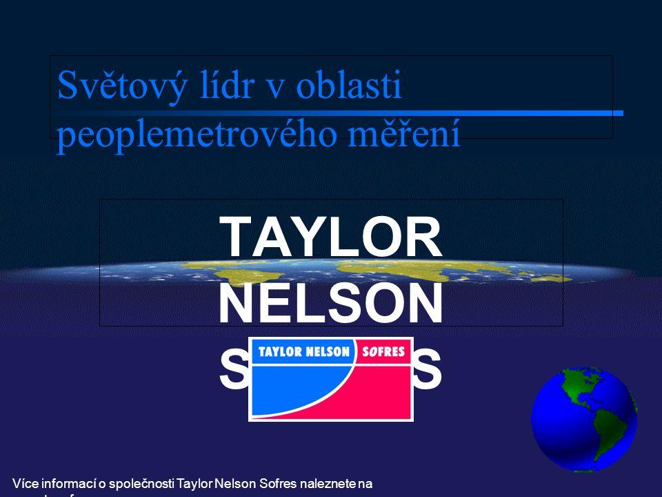 Světový lídr v oblasti peoplemetrového měření TAYLOR NELSON SOFRES Více informací o společnosti Taylor Nelson Sofres naleznete na www.tnsofres.cz
