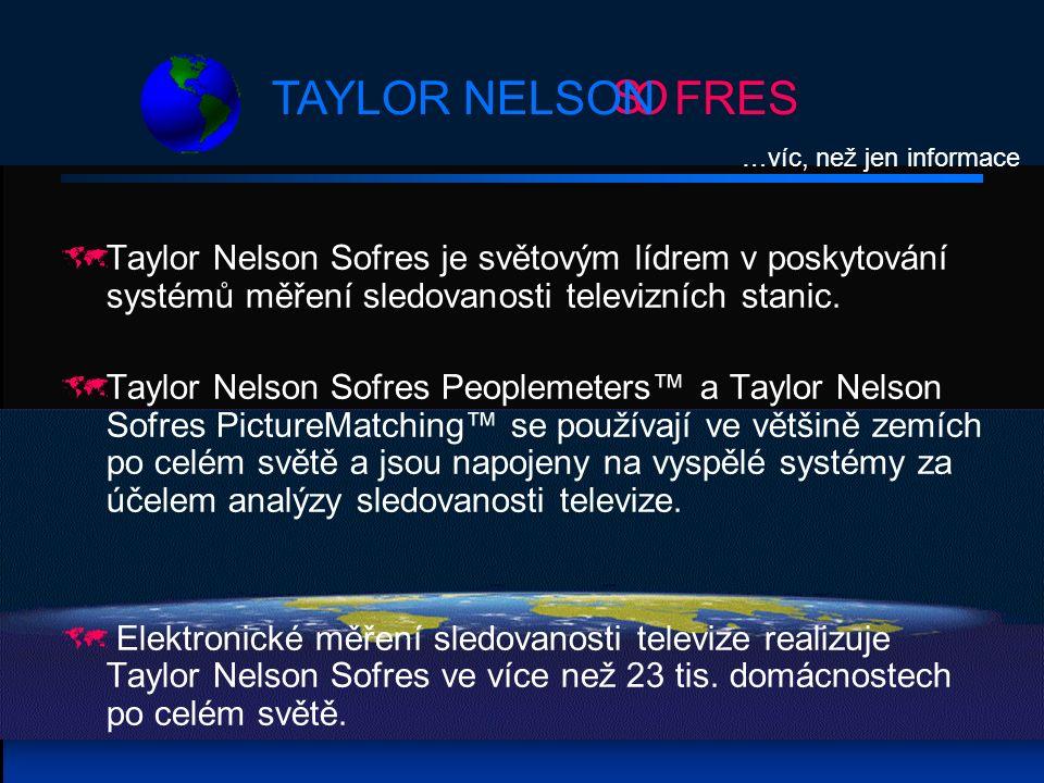 S OFRESTAYLOR NELSON  Taylor Nelson Sofres je světovým lídrem v poskytování systémů měření sledovanosti televizních stanic.