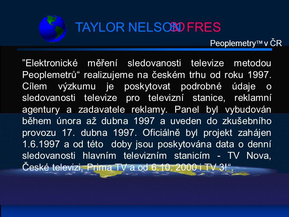 S OFRESTAYLOR NELSON Peoplemetry  v ČR Elektronické měření sledovanosti televize metodou Peoplemetrů realizujeme na českém trhu od roku 1997.