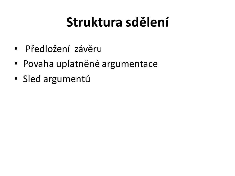 Struktura sdělení Předložení závěru Povaha uplatněné argumentace Sled argumentů