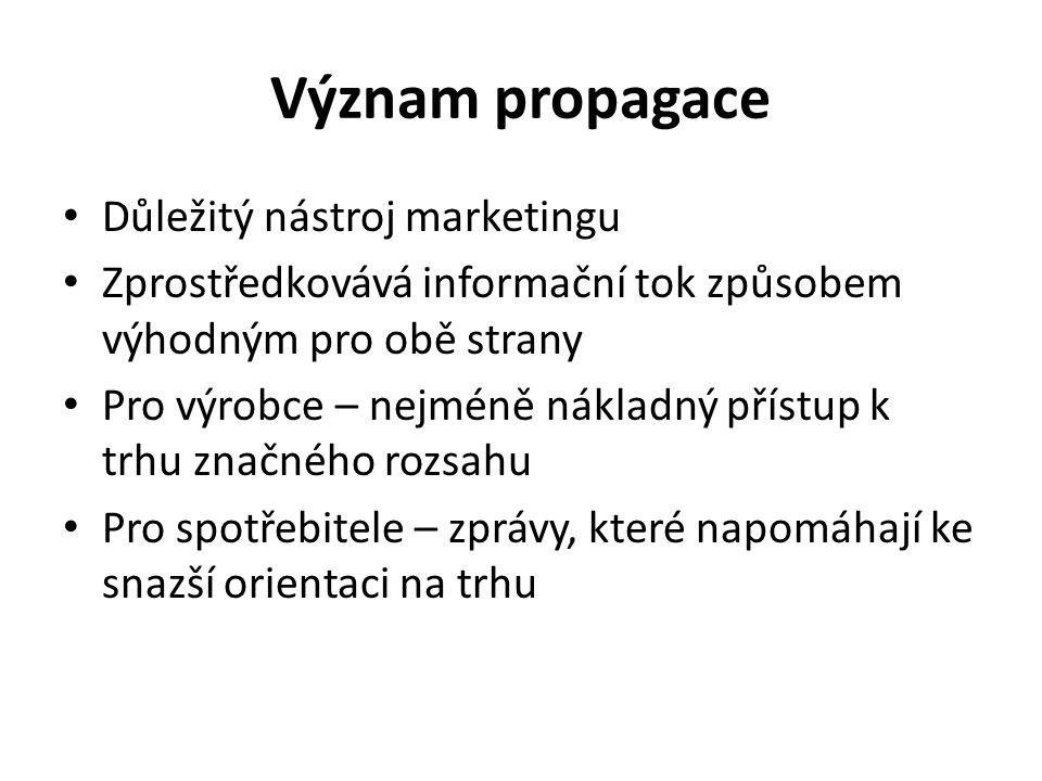 Význam propagace Důležitý nástroj marketingu Zprostředkovává informační tok způsobem výhodným pro obě strany Pro výrobce – nejméně nákladný přístup k trhu značného rozsahu Pro spotřebitele – zprávy, které napomáhají ke snazší orientaci na trhu