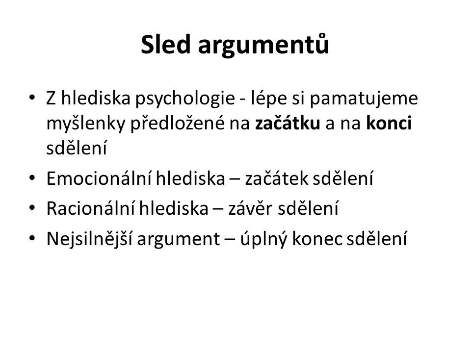Sled argumentů Z hlediska psychologie - lépe si pamatujeme myšlenky předložené na začátku a na konci sdělení Emocionální hlediska – začátek sdělení Racionální hlediska – závěr sdělení Nejsilnější argument – úplný konec sdělení