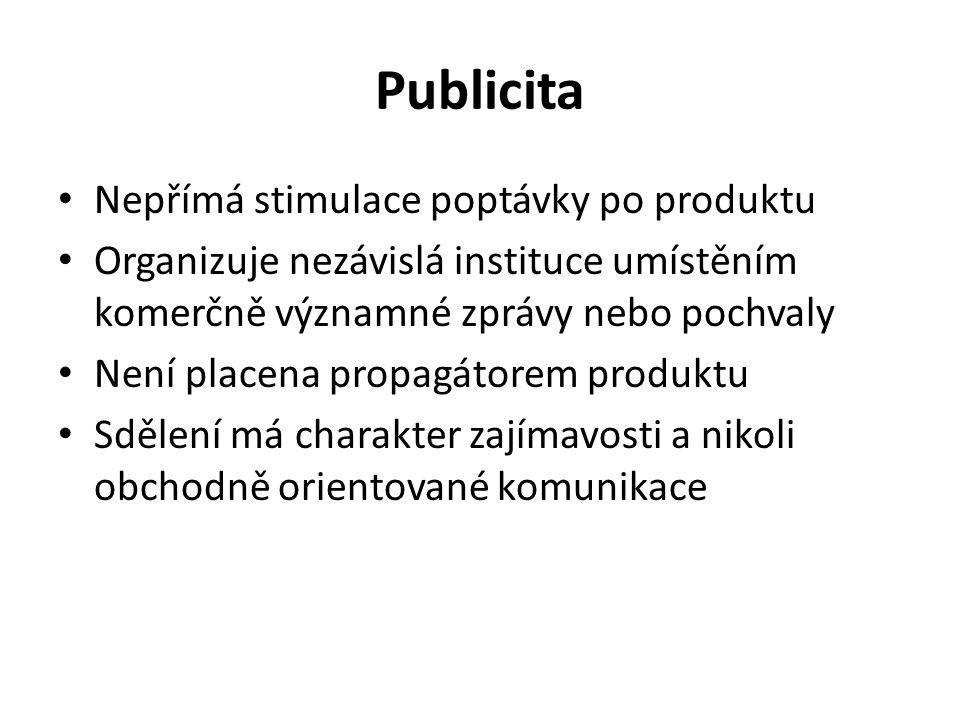 Publicita Nepřímá stimulace poptávky po produktu Organizuje nezávislá instituce umístěním komerčně významné zprávy nebo pochvaly Není placena propagátorem produktu Sdělení má charakter zajímavosti a nikoli obchodně orientované komunikace