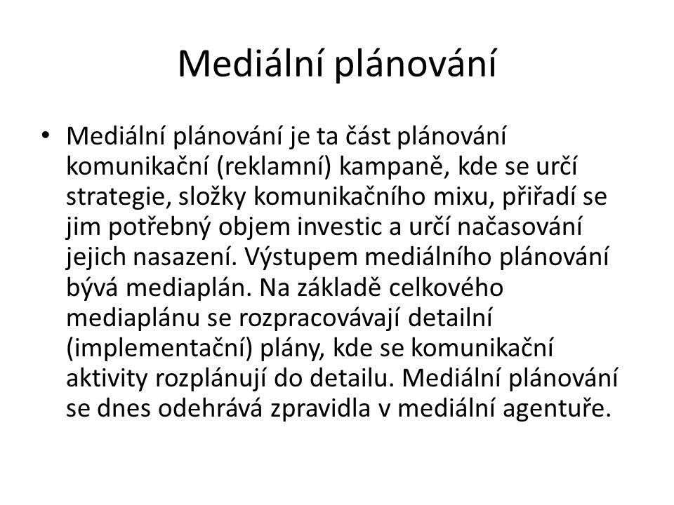 Mediální plán Mediální plán – označuje plán mediálního nasazení kampaně.