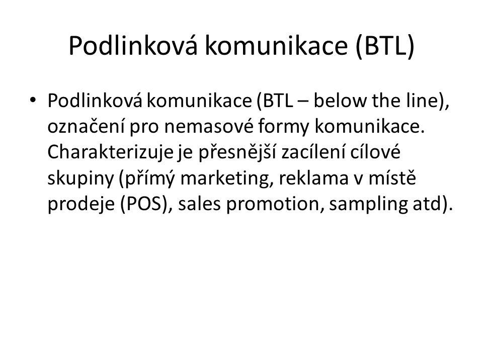 Podlinková komunikace (BTL) Podlinková komunikace (BTL – below the line), označení pro nemasové formy komunikace. Charakterizuje je přesnější zacílení