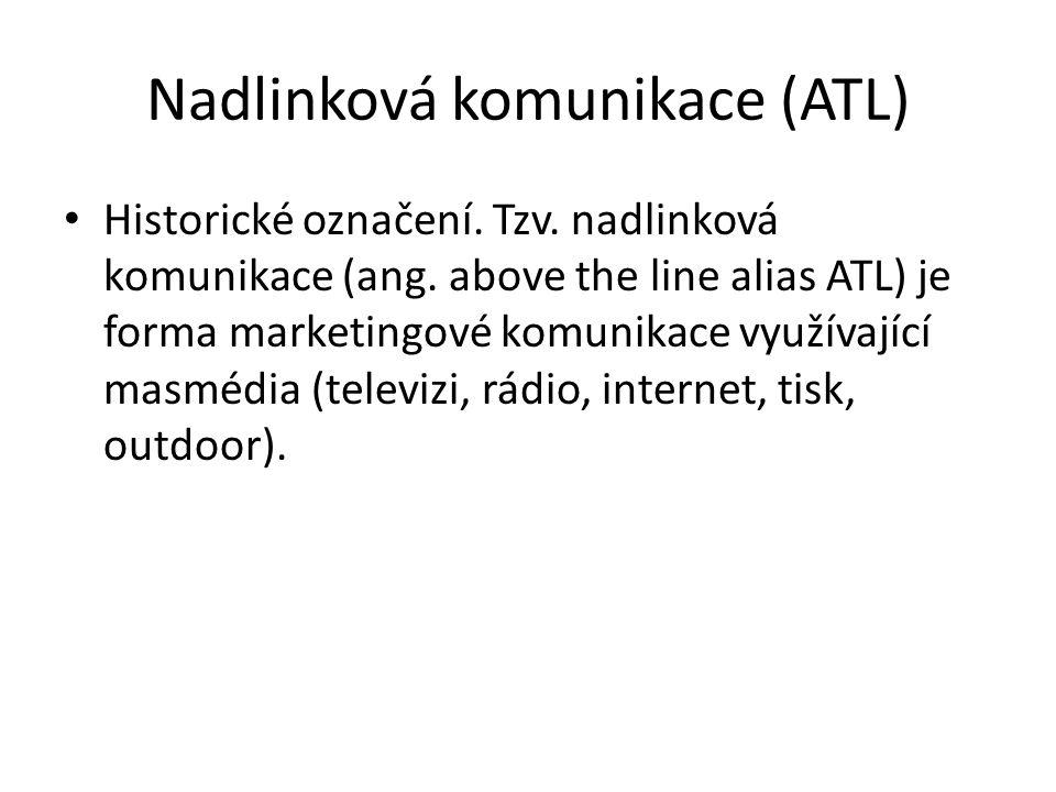 Nadlinková komunikace (ATL) Historické označení. Tzv. nadlinková komunikace (ang. above the line alias ATL) je forma marketingové komunikace využívají