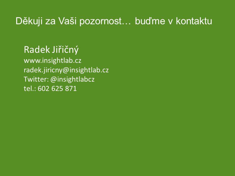 Děkuji za Vaši pozornost… buďme v kontaktu Radek Jiřičný www.insightlab.cz radek.jiricny@insightlab.cz Twitter: @insightlabcz tel.: 602 625 871