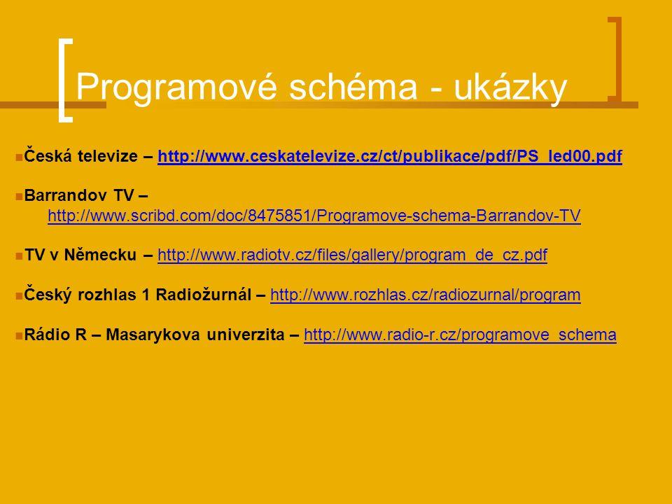 Programové schéma - ukázky Česká televize – http://www.ceskatelevize.cz/ct/publikace/pdf/PS_led00.pdfhttp://www.ceskatelevize.cz/ct/publikace/pdf/PS_led00.pdf Barrandov TV – http://www.scribd.com/doc/8475851/Programove-schema-Barrandov-TV TV v Německu – http://www.radiotv.cz/files/gallery/program_de_cz.pdfhttp://www.radiotv.cz/files/gallery/program_de_cz.pdf Český rozhlas 1 Radiožurnál – http://www.rozhlas.cz/radiozurnal/programhttp://www.rozhlas.cz/radiozurnal/program Rádio R – Masarykova univerzita – http://www.radio-r.cz/programove_schemahttp://www.radio-r.cz/programove_schema