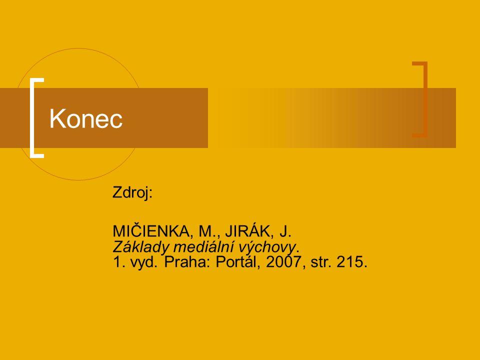 Konec Zdroj: MIČIENKA, M., JIRÁK, J. Základy mediální výchovy.