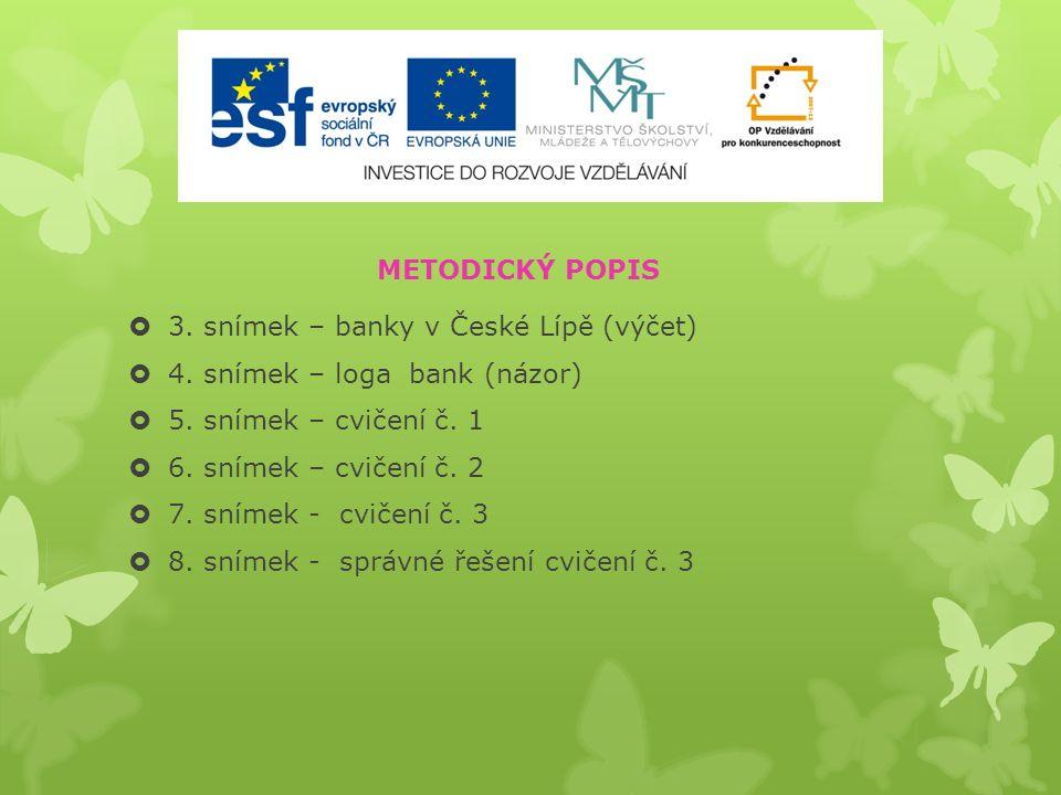  3. snímek – banky v České Lípě (výčet)  4. snímek – loga bank (názor)  5.