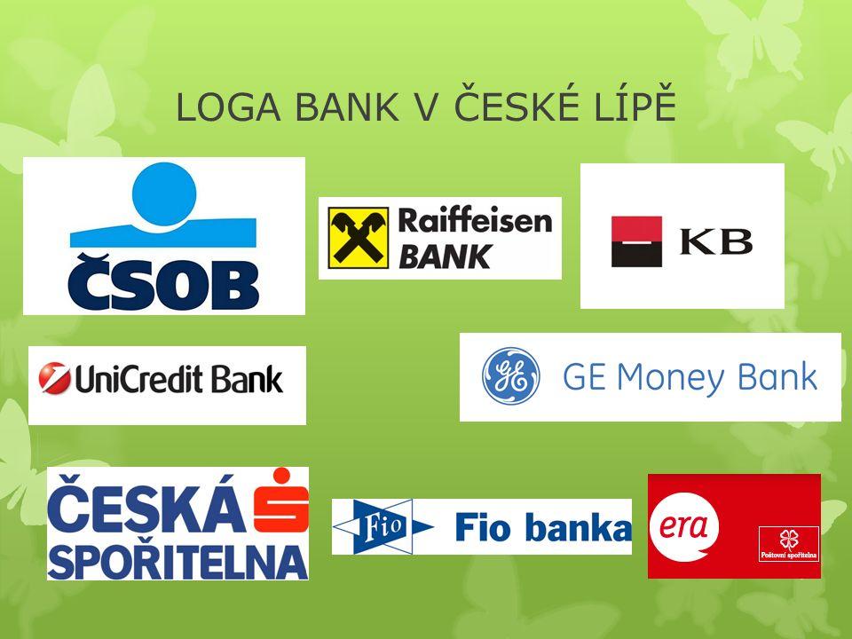 CVIČENÍ Č. 1  Přiřaďte názvy k logům bank. ČSOB ERA – POŠTOVNÍ SPOŘITELNAGE – MONEY BANK