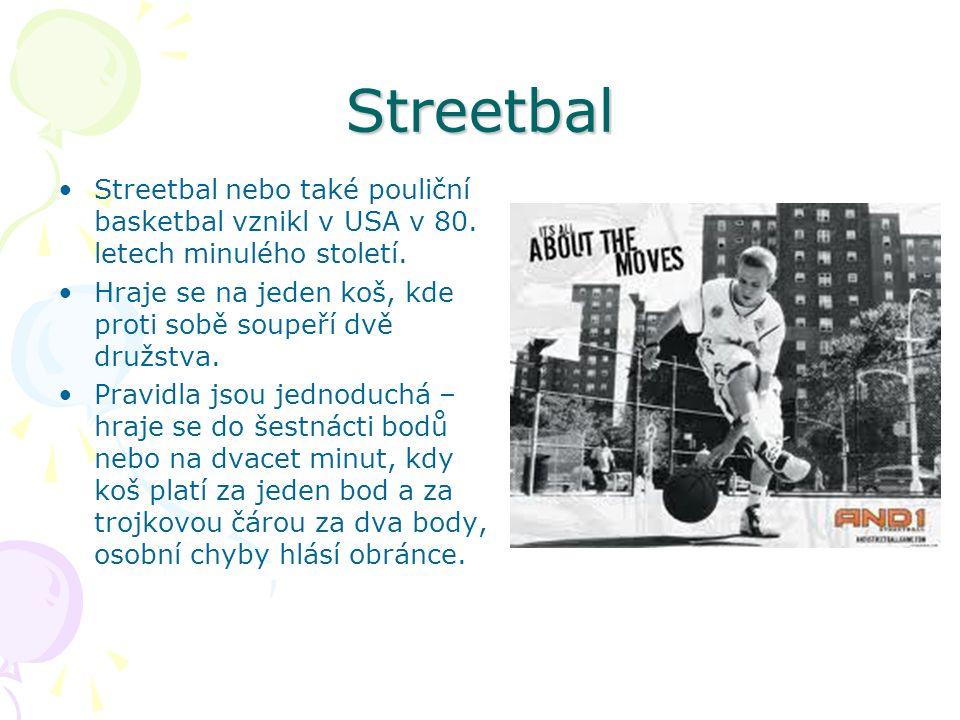 Streetbal Streetbal nebo také pouliční basketbal vznikl v USA v 80.