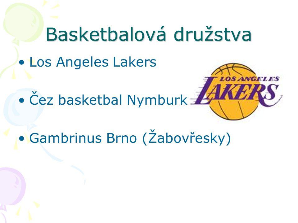 Basketbalová družstva Los Angeles Lakers Čez basketbal Nymburk Gambrinus Brno (Žabovřesky)