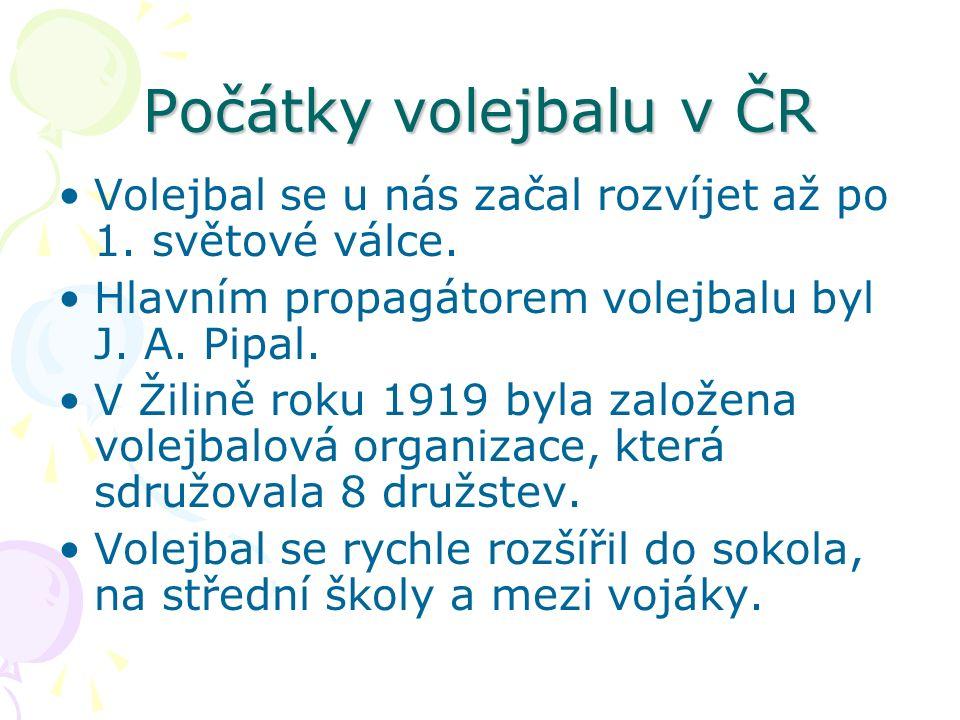 Počátky volejbalu v ČR Volejbal se u nás začal rozvíjet až po 1.