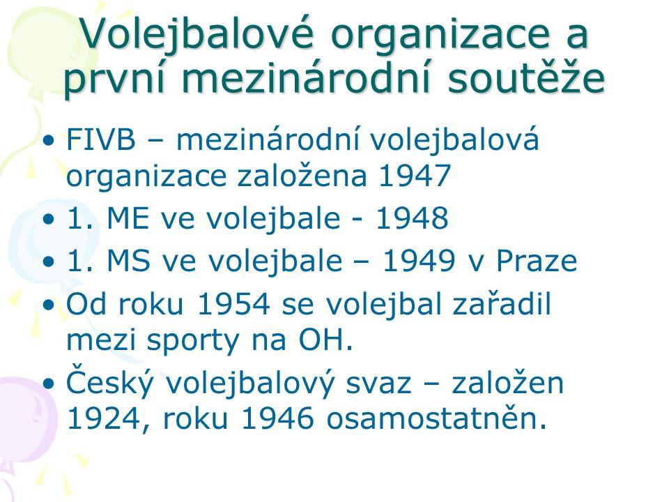 Volejbalové organizace a první mezinárodní soutěže FIVB – mezinárodní volejbalová organizace založena 1947 1.