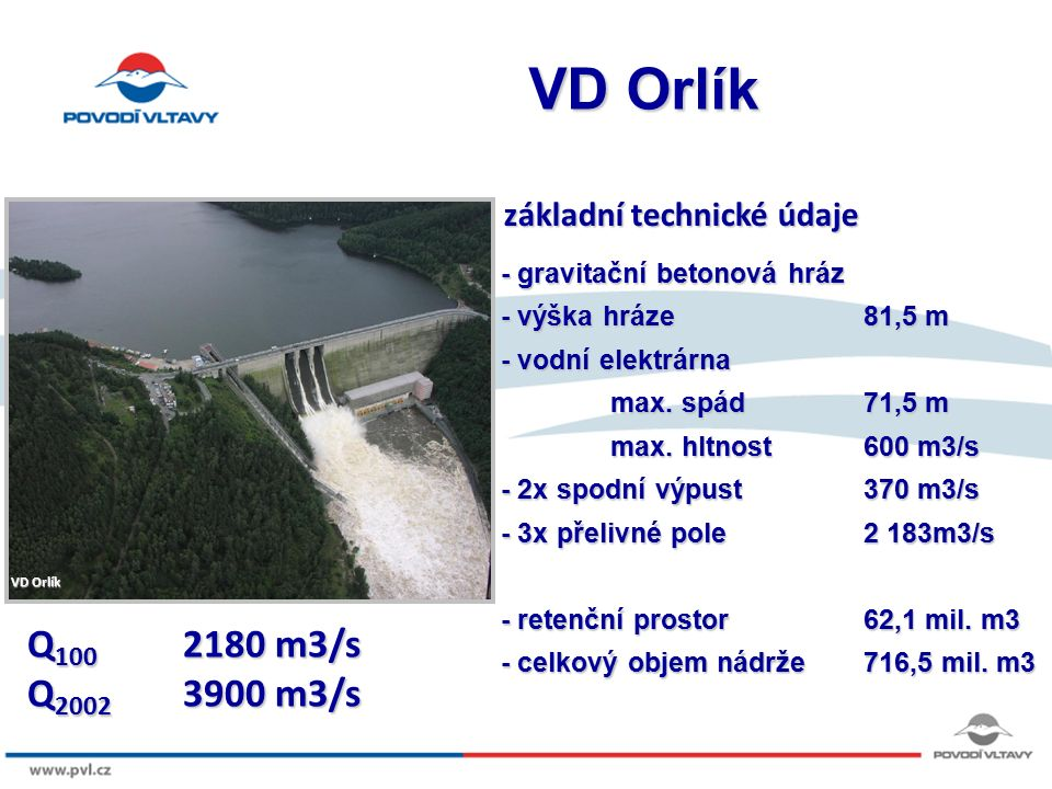8/9/12 VD Orlík - gravitační betonová hráz - výška hráze81,5 m - vodní elektrárna max. spád 71,5 m max. hltnost600 m3/s - 2x spodní výpust370 m3/s - 3