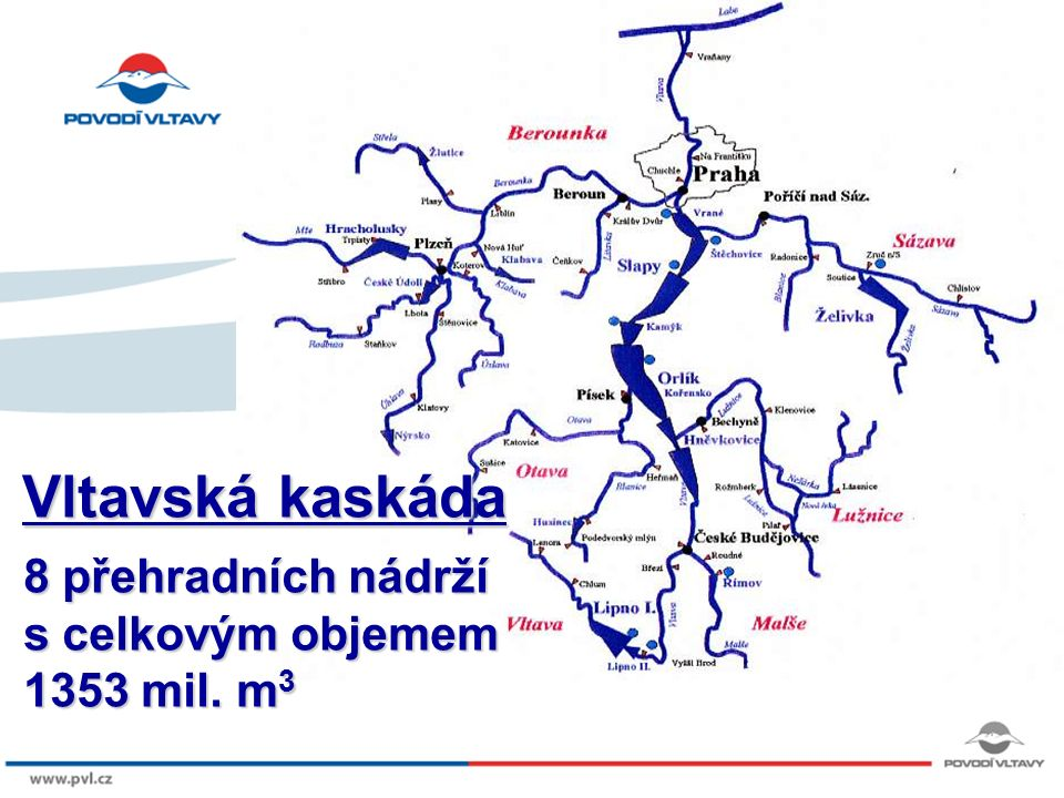 8/9/12 8 přehradních nádrží s celkovým objemem 1353 mil. m 3 Vltavská kaskáda