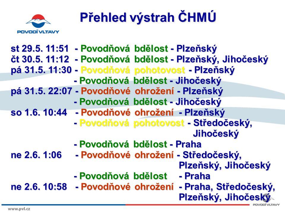 8/9/12 Přehled výstrah ČHMÚ st 29.5. 11:51 - Povodňová bdělost - Plzeňský čt 30.5.
