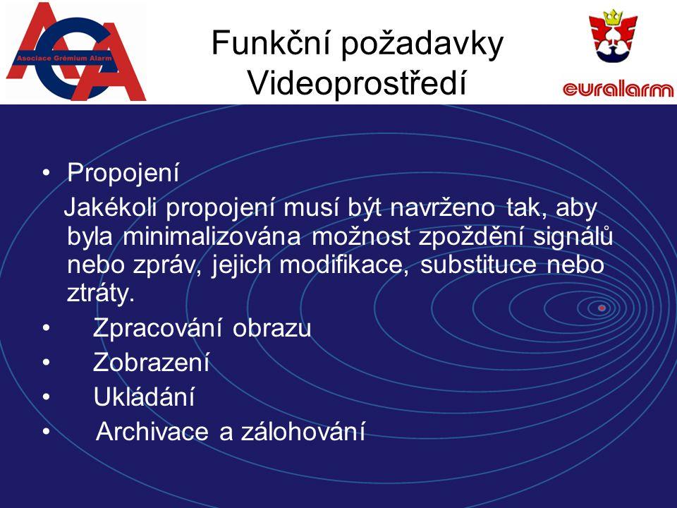 Funkční požadavky Videoprostředí Propojení Jakékoli propojení musí být navrženo tak, aby byla minimalizována možnost zpoždění signálů nebo zpráv, jejich modifikace, substituce nebo ztráty.