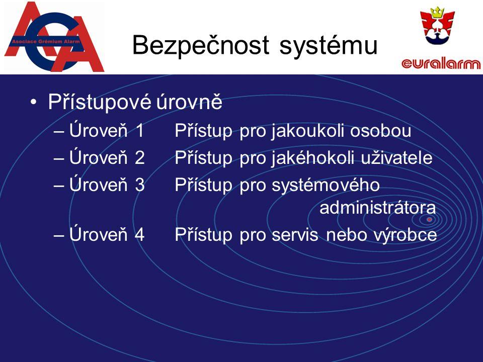 Bezpečnost systému Přístupové úrovně –Úroveň 1Přístup pro jakoukoli osobou –Úroveň 2Přístup pro jakéhokoli uživatele –Úroveň 3Přístup pro systémového administrátora –Úroveň 4Přístup pro servis nebo výrobce