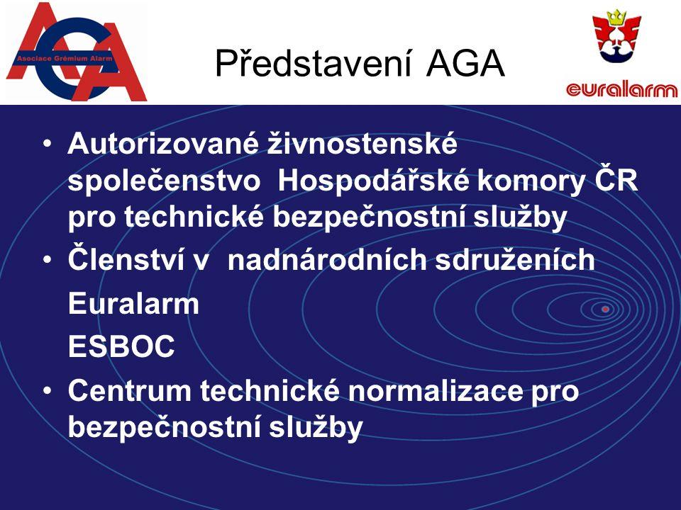 Představení AGA Autorizované živnostenské společenstvo Hospodářské komory ČR pro technické bezpečnostní služby Členství v nadnárodních sdruženích Euralarm ESBOC Centrum technické normalizace pro bezpečnostní služby