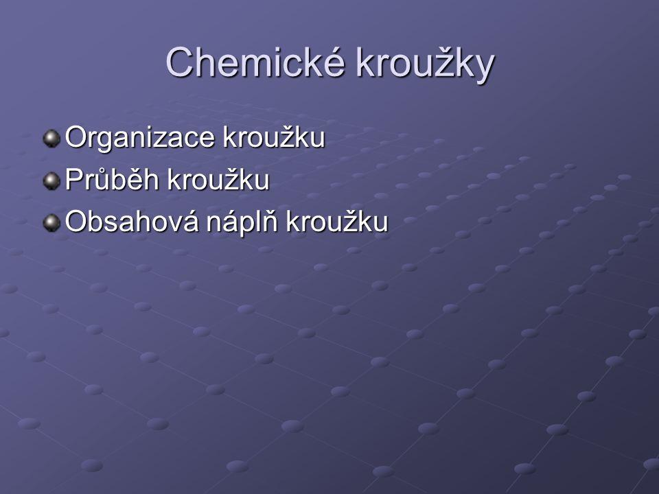 Chemické kroužky Organizace kroužku Průběh kroužku Obsahová náplň kroužku