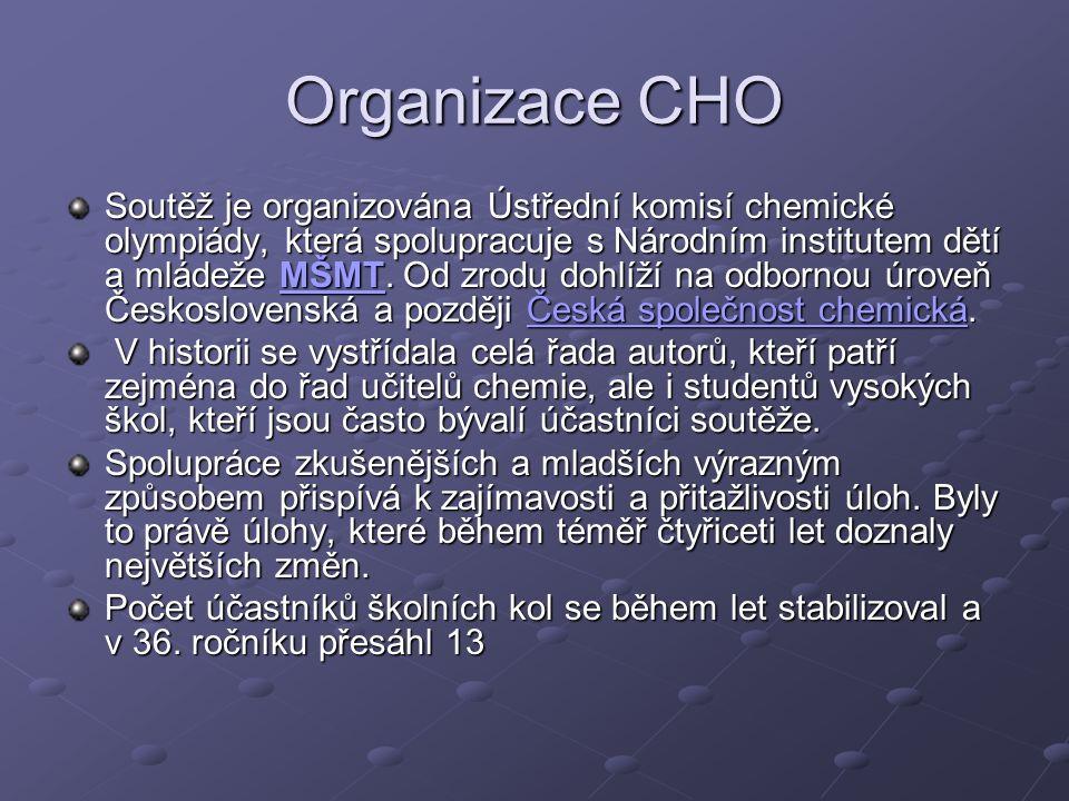 Organizace CHO Soutěž je organizována Ústřední komisí chemické olympiády, která spolupracuje s Národním institutem dětí a mládeže MŠMT.