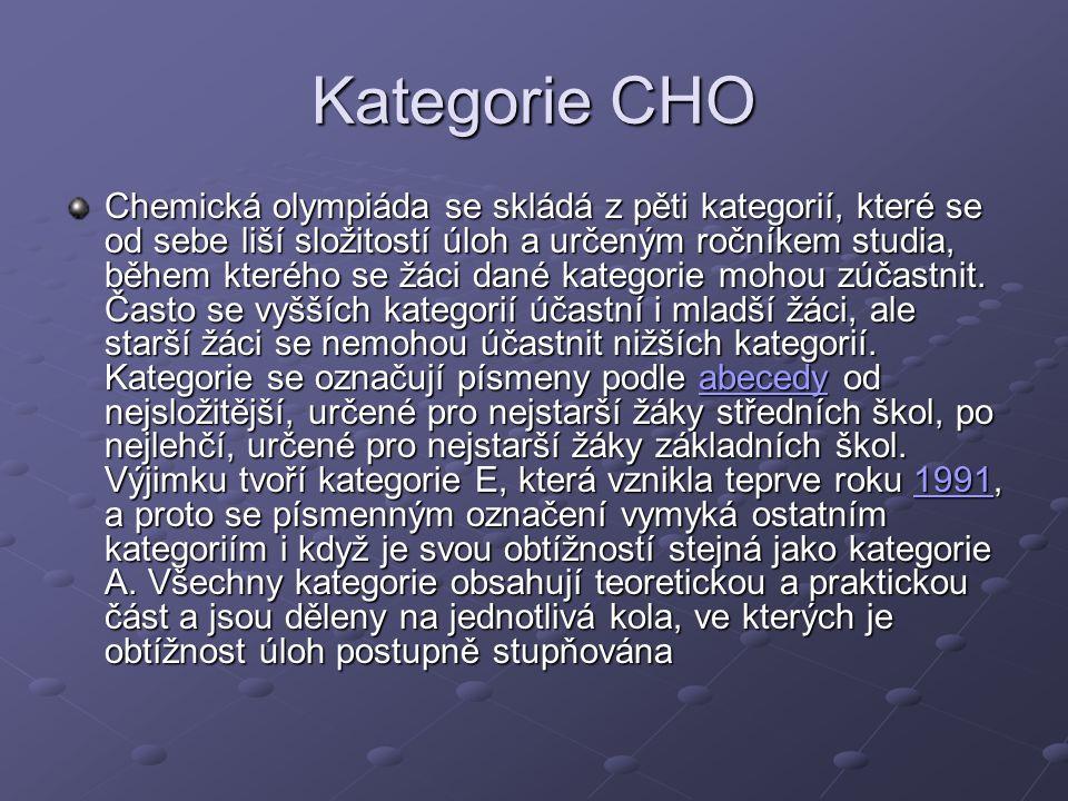 Kategorie CHO Chemická olympiáda se skládá z pěti kategorií, které se od sebe liší složitostí úloh a určeným ročníkem studia, během kterého se žáci dané kategorie mohou zúčastnit.