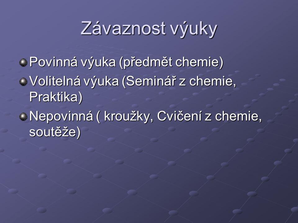 Závaznost výuky Povinná výuka (předmět chemie) Volitelná výuka (Seminář z chemie, Praktika) Nepovinná ( kroužky, Cvičení z chemie, soutěže)