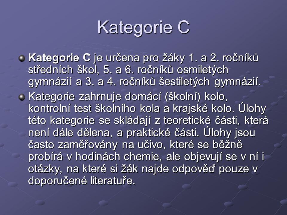 Kategorie C Kategorie C je určena pro žáky 1. a 2.