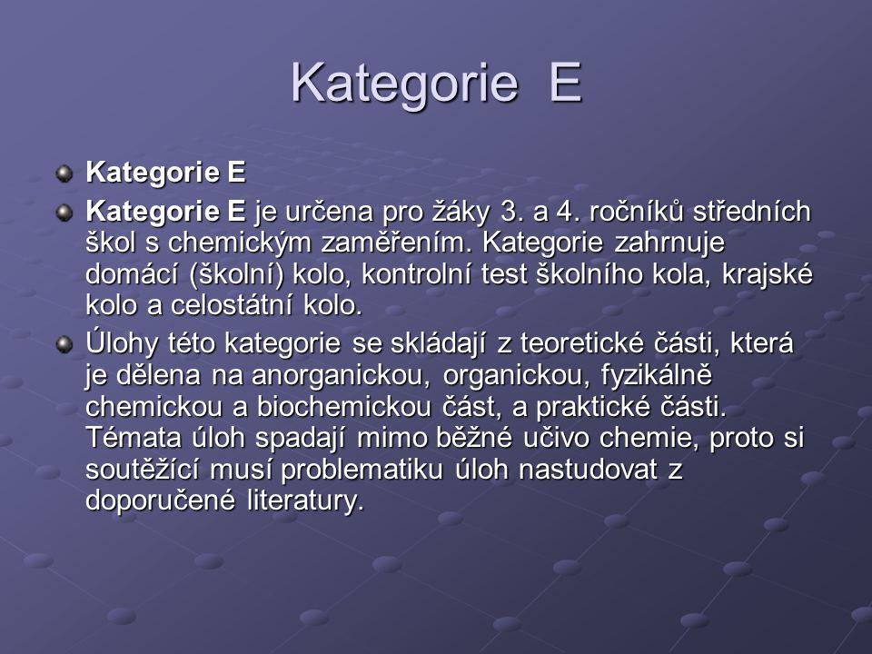 Kategorie E Kategorie E je určena pro žáky 3.a 4.