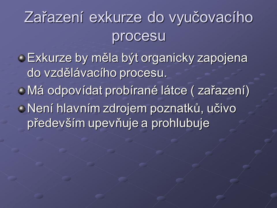 Exkurzi lze zařadit Před probíráním látky - úvodní Souběžně s probíráním látky – souběžné Završující probíraný tématický celek – závěrečné (např.