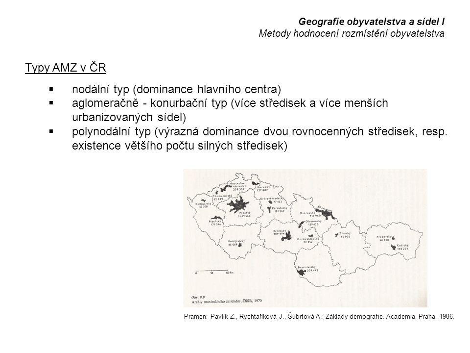 Typy AMZ v ČR  nodální typ (dominance hlavního centra)  aglomeračně - konurbační typ (více středisek a více menších urbanizovaných sídel)  polynodální typ (výrazná dominance dvou rovnocenných středisek, resp.