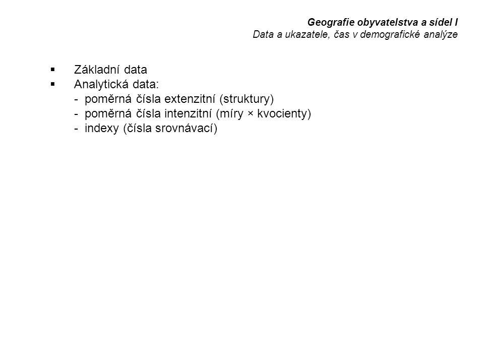  Základní data  Analytická data: - poměrná čísla extenzitní (struktury) - poměrná čísla intenzitní (míry × kvocienty) - indexy (čísla srovnávací) Geografie obyvatelstva a sídel I Data a ukazatele, čas v demografické analýze