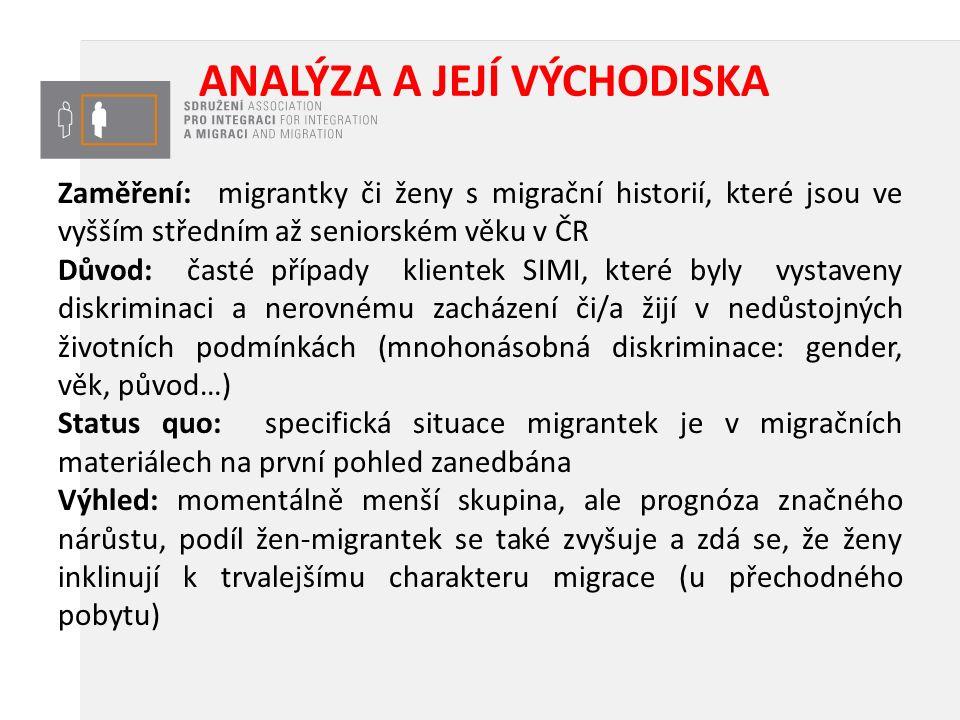 ANALÝZA A JEJÍ VÝCHODISKA Zaměření: migrantky či ženy s migrační historií, které jsou ve vyšším středním až seniorském věku v ČR Důvod: časté případy klientek SIMI, které byly vystaveny diskriminaci a nerovnému zacházení či/a žijí v nedůstojných životních podmínkách (mnohonásobná diskriminace: gender, věk, původ…) Status quo: specifická situace migrantek je v migračních materiálech na první pohled zanedbána Výhled: momentálně menší skupina, ale prognóza značného nárůstu, podíl žen-migrantek se také zvyšuje a zdá se, že ženy inklinují k trvalejšímu charakteru migrace (u přechodného pobytu)